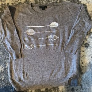 J Crew Wool Grey Sweater w/Arrow Embroidery SZ XS